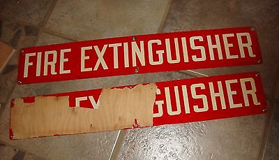 """Vintage FIRE EXTINGUISHER Sign 24"""" by 4"""" from Military Base"""