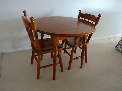 Small, 3' round (90cm) natural timber dining table with 4 chairs