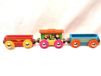 Lot of 3 Henson Sesame Street Wooden Magnetic Tootsie Toy Train Cars - Nice!