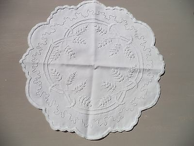 """Antique Whitework Embroidered Table Doily-12 3/4""""-Wheats and Cresents-Gorgeous"""