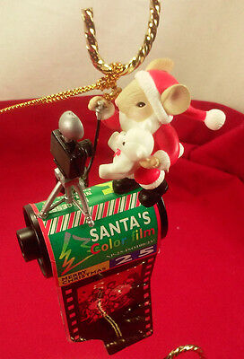 Vintage Santa Mouse With Camera And Film Christmas Ornament