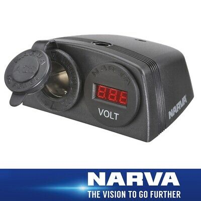 Narva HDRV Power Heavy-Duty Twin Surface Mount Accessory/12/24V DC LED Volt Mete