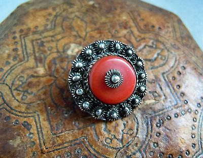 Antique Signed Chinese Large Red Coral Cannetille Sterling Silver Pin Estate Lot