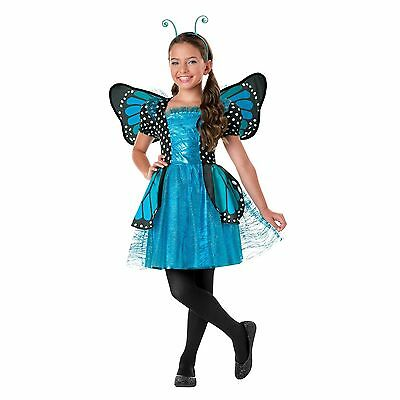 NEW Girls Blue Sparkle Butterfly Fancy Costume Dress Up Childs Deluxe Fairy Tutu