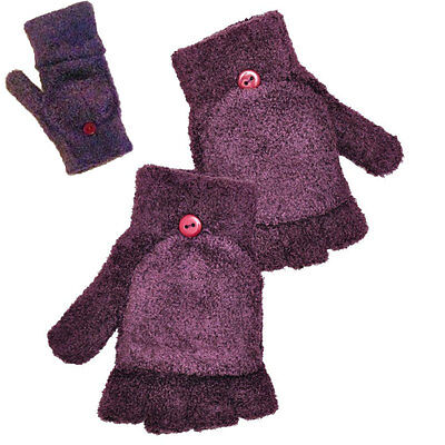 Girls Childrens Kids Fingerless Gloves/Mittens 2 in 1 winter Gloves 4-8yrs
