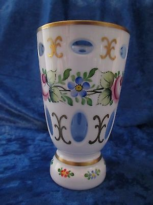 Antique Bohemian Cased White Overlay Cut Art Glass Vase  Take A L@@k