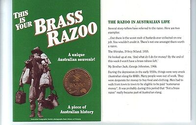 One Brass Razoo 1994 Australia's Mythical Coin with History Booklet etc K-383