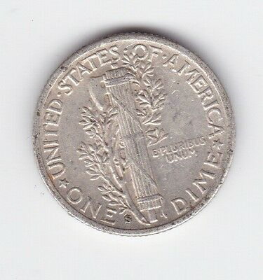 1942 S Mint SILVER One Dime Mercury United States America Coin AA-28