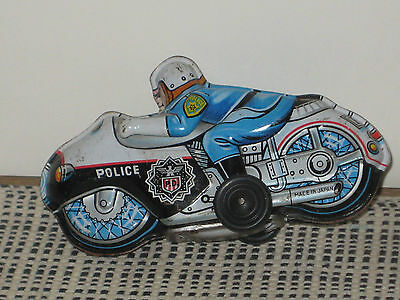 Original Made in Japan Police Motorcycle Rider - Tinplate Circa 1960's Excellent