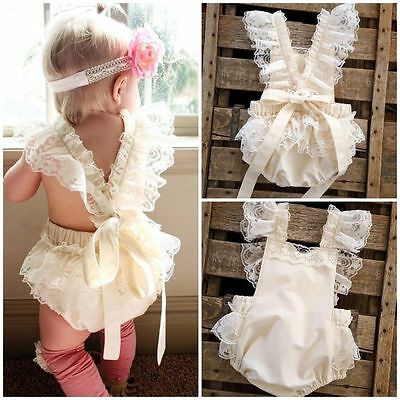 US Stock- Lace Baby Girls Bodysuit Ruffle One-piece Romper Sunsuit Clothes 0-24M