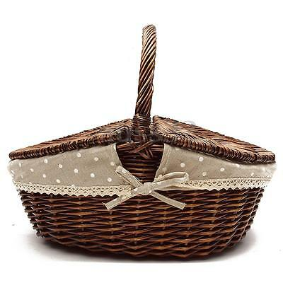 Willow Wicker Hand Picnic Basket Storage Shopping Hamper With Lid and Handle