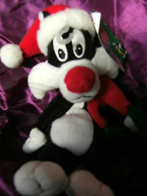 """Sylvester Santa Warner Brothers Store Bean Bag Soft Toy 10""""   With Tags"""