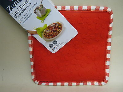 New CKS Zeal Dual Function Silicone Kitchen Hot Grab Mat Square V107 Red