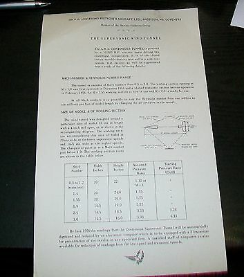 Armstrong Whitworth The Supersonic Wind Tunnel Descriptive Leaflet 1956
