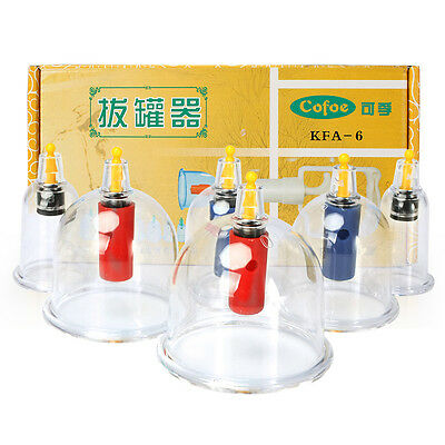 Beauty Healthy CHINESE VACUUM 6 CUPPING cups SLIMMING Massage Acupuncture cofoe