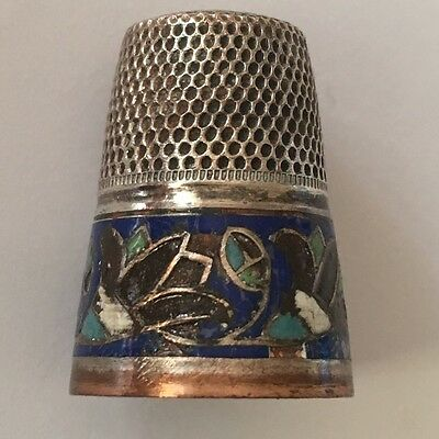 """Antique Silver & Enamel Thimble Marked """"Germany"""" Vintage Sewing"""