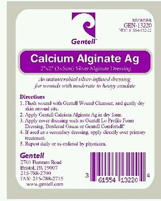 """Gentell Calcium Alginate AG 2"""" x 2"""" with Silver Dressing (Pack of 10) GEN-13220"""