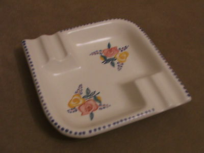 30's VINTAGE POOLE POTTERY HAND PAINTED ASHTRAY EXCELLENT CONDITION