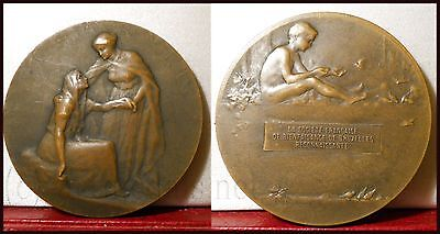 1911 Superb French bronze medal Charity by Desvignes Brussels Belgium