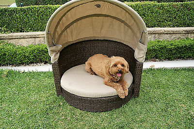 Wicker Dog Puppy Cat Pet Bed House with Canopy & Pad Cushion