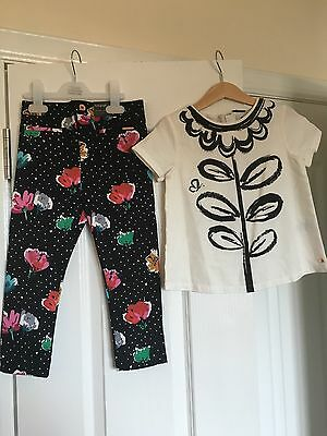 Marks & Spencer Autograph Girls Floral Trousers Top Outfit 3-4 4-5 New