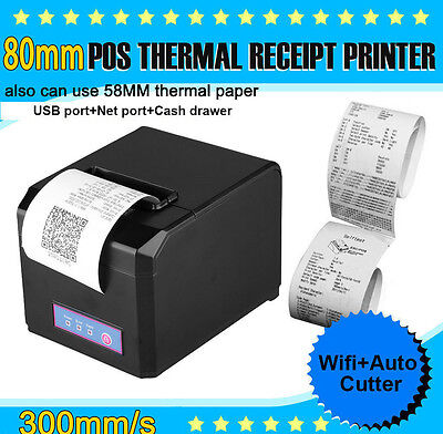 Hoin 80mm&58mm POS Dot Receipt Paper Barcode Thermal Printer USB+LAN Port In US!