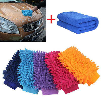 Car Cleaning Brush Cleaner Tools Microfiber Sponge Cloth Towel Wash Gloves