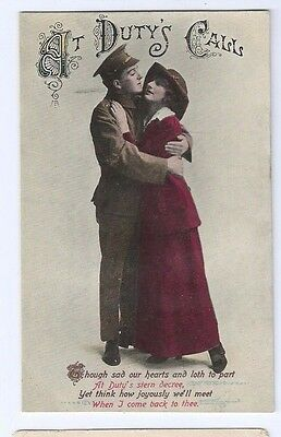 Postcard At Duty's Calls 1906 Soldier in Uniform