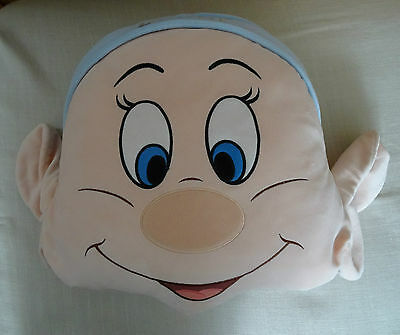 Disney Store Dopey face soft plush cushion Snow White and the 7 Dwarfs