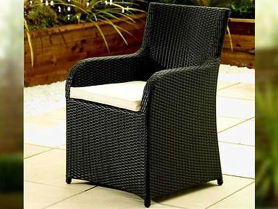Pair Of Black Rattan Garden Furniture Chair Set Conservatory Outdoor Chairs