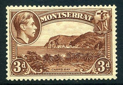 MONTSERRAT;  1938 early GVI issue fine Mint hinged Perf 13 issue, 3d. SP-245838