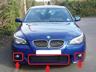 Bmw New E60 E61 M Sport Front Bumper Lower Mesh Grilles Complete Set Of Five