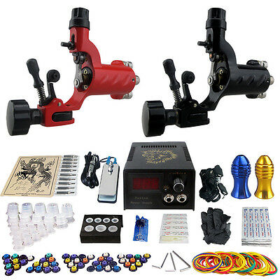 Complete Tattoo Kit 2 Pro Machine Guns Power Supply 20 Needles Grip Tip ink Cup
