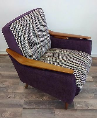 Retro West German Club Chair in Ashbee Berry Stripe By Designers Guild.