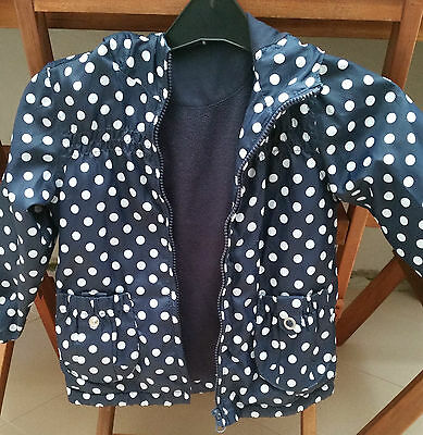 Girls waterproof summer jacket 3 years Blue White Polka dot VERY GOOD CONDITION