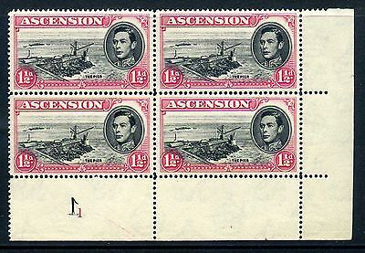 Ascension 1938-53 1½d plate block of 4 MNH