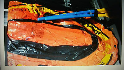 Inflatable boat with 2 oars and 1 extra paddle
