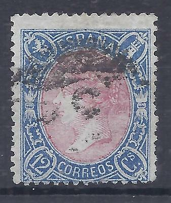 Spain 1865 perforated 12cu rose and blue used