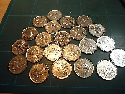 44 French Five Franc coins
