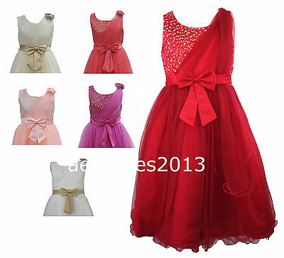 Girls Sequinned Dress Flower Princess Sleeveless Formal Party Bridesmaid Wedding