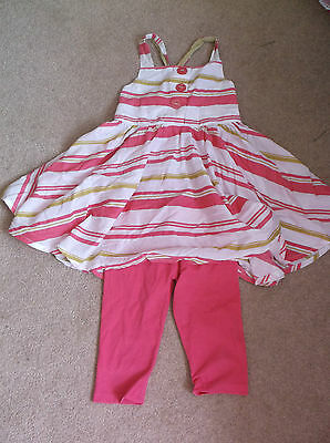 Next girl's pink, green & white striped top with pink leggings 6 years
