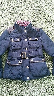 next girls navy barbour style belted coat age 5-6