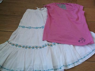 Next girl's white and turquoise skirt pink t shirt 6 years.