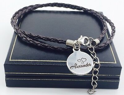Personalised Leather Bracelet Valentines Gift For Him Dad Unique Mens Charm BFF
