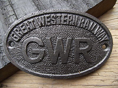 Vintage Style GWR Iron Plaque Sign Totem rail railway industrial train notice