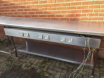 Stainless Steel Table 8ft With 6 Electric Sockets and Shelf BARGAIN ,Immaculate