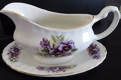 Price Kensington Pansies Gravy Boat, plate and matching salt and pepper shakers