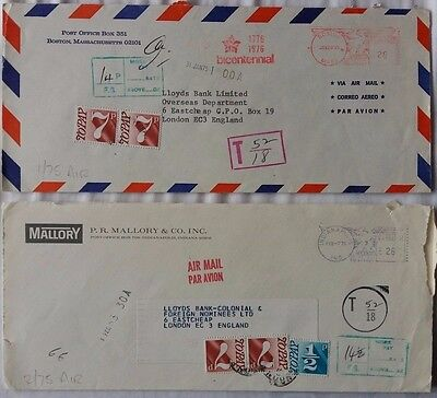 Great Britain 1975 Underpaid Covers From U S With & Without ½ Postage Due Charge