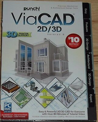 Brand New Punch ViaCad 2D/3D V9 for PC or Mac 3D Printer Support Free Shipping