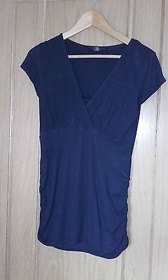 Mothercare M2b maternity and nursing top, short sleeve, navy blue size 8